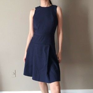 J.CREW PLEATED FIT & FLARED WOOL NAVY CAREER DRESS